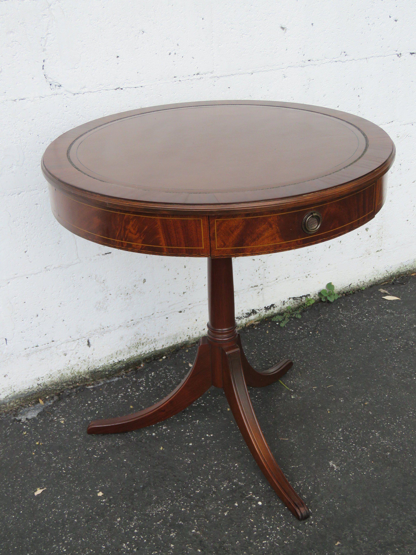 Phenomenal Flame Mahogany Carved Inlay Leather Top Round Side Table Inzonedesignstudio Interior Chair Design Inzonedesignstudiocom