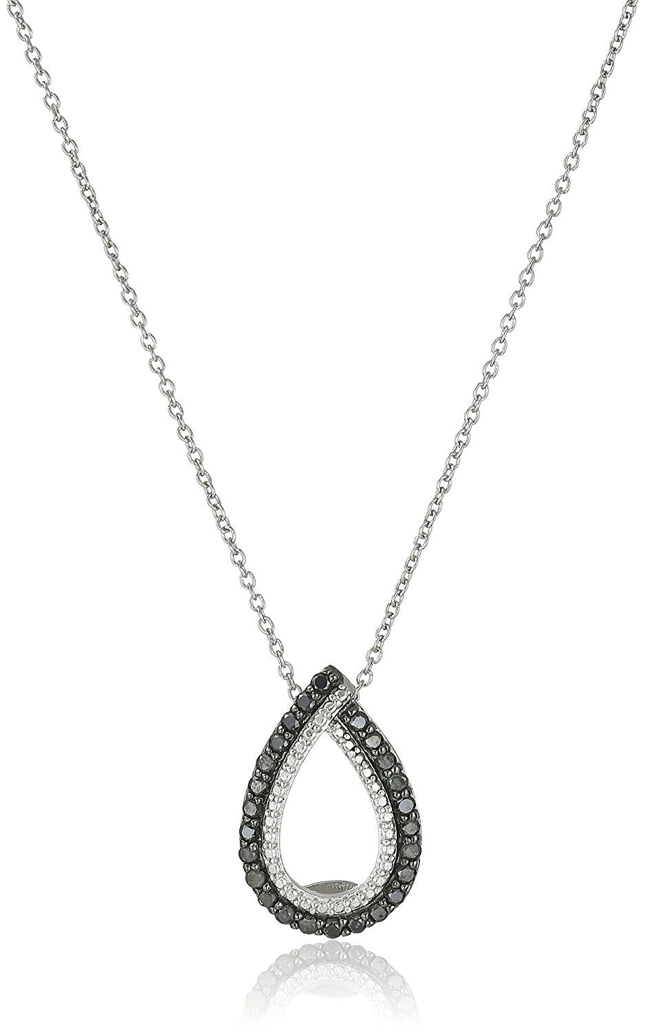 With 18 Inch Chain 1.05 CT Sterling Silver Black Diamond Pendant