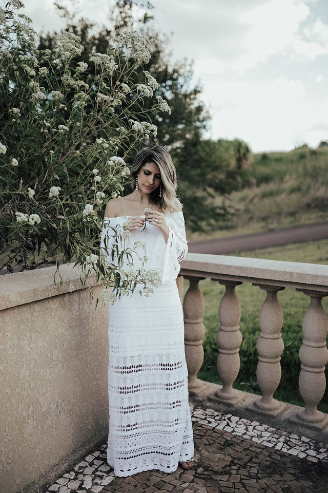 ca9d1be5a Look do dia  Vestido Branco de Tricô!