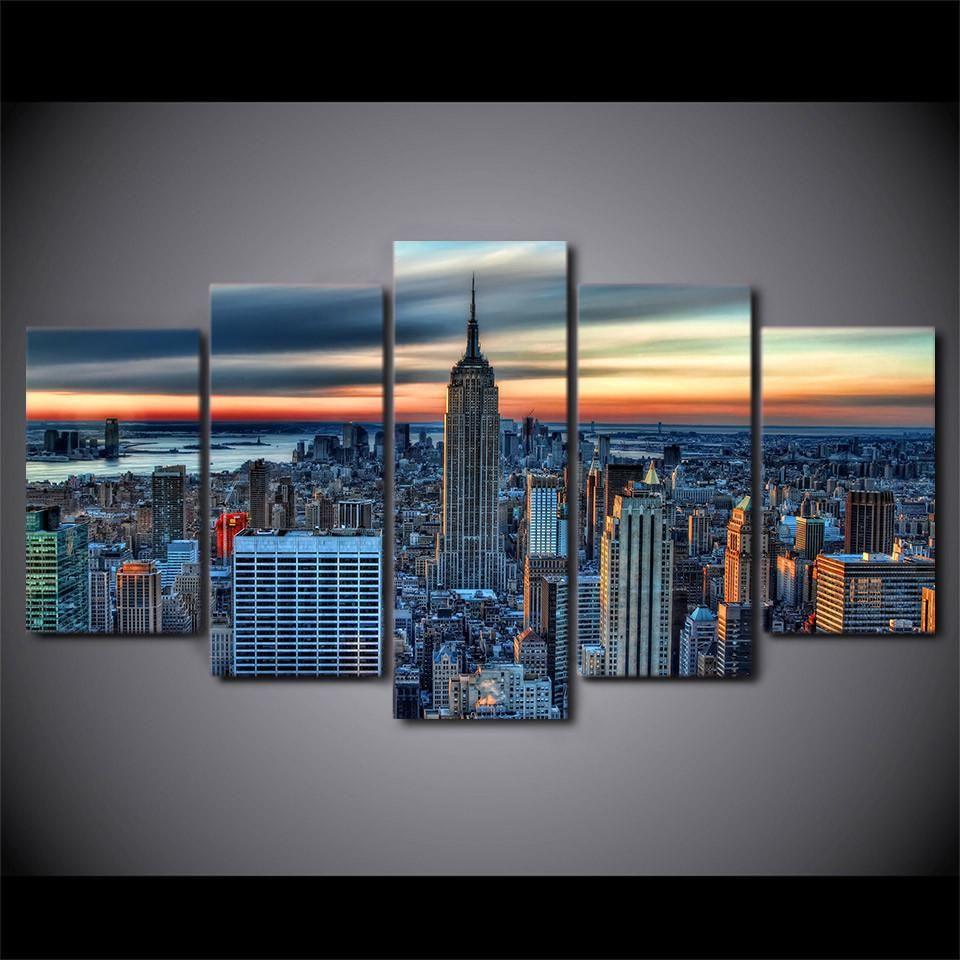 New York City Skyline 5 Piece Canvas Art Customized Canvas Art Wall Art Pictures Wall Art Prints