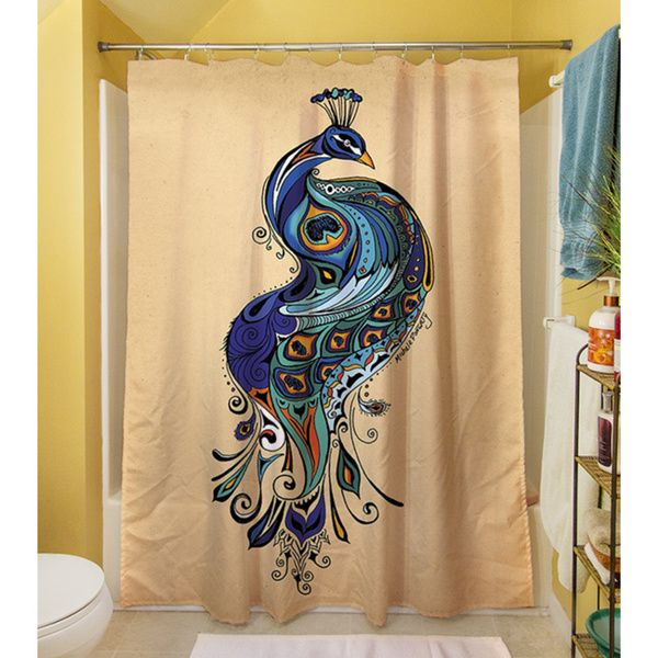 Thumbprintz Peacock Shower Curtain   Overstock Shopping   Great Deals On Shower  Curtains