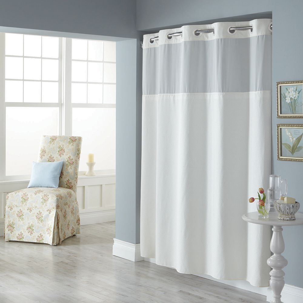 Dobby Pique Mystery Hookless White Fabric Shower Curtain Fabric