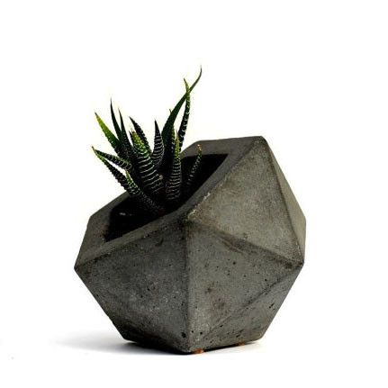 Geodesic Concrete Planter from KESTREL. Inspired by the geodesic dome, this modern organic hand-cast concrete planter is perfect for succulents and air plants alike.