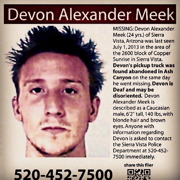 Devon Alexander Meek, 24, missing person from Sierra Vista, AZ - Funny Missing Person Poster