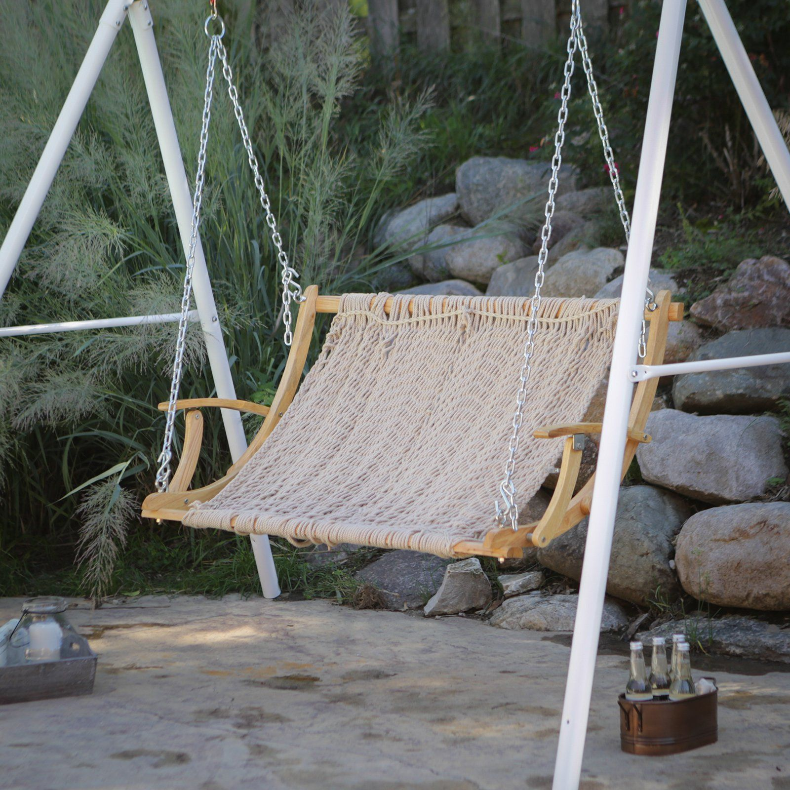 Island Bay Rope Double Hammock Swing Hammock Chairs & Swings at