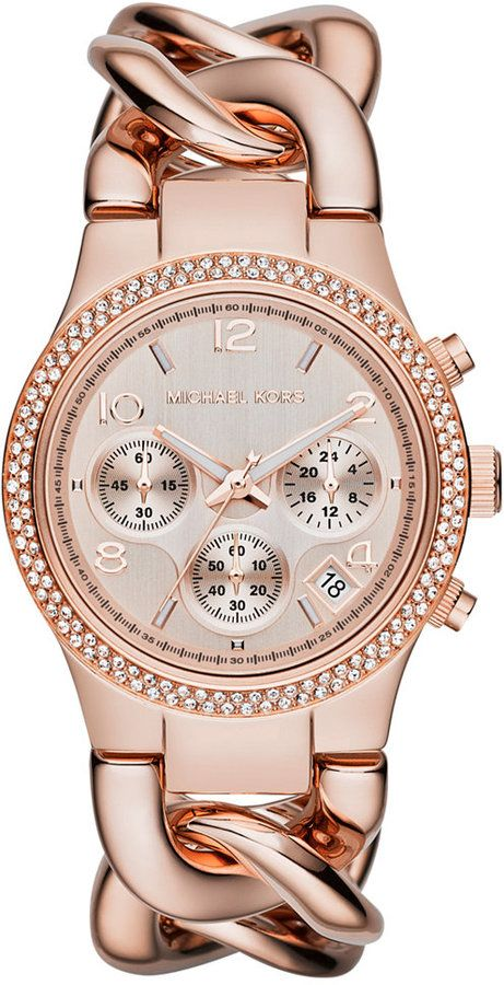 e966d256954 Michael Kors Women s Chronograph Runway Twist Rose Gold-Tone Stainless  Steel Bracelet Watch 38mm MK3247