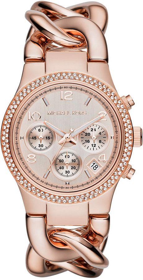 Michael Kors Women S Chronograph Runway Twist Rose Gold Tone Stainless Steel Bracelet Watch 38mm Mk3247 Damenuhr Handtaschen Michael Kors Michael Kors Damenuhr