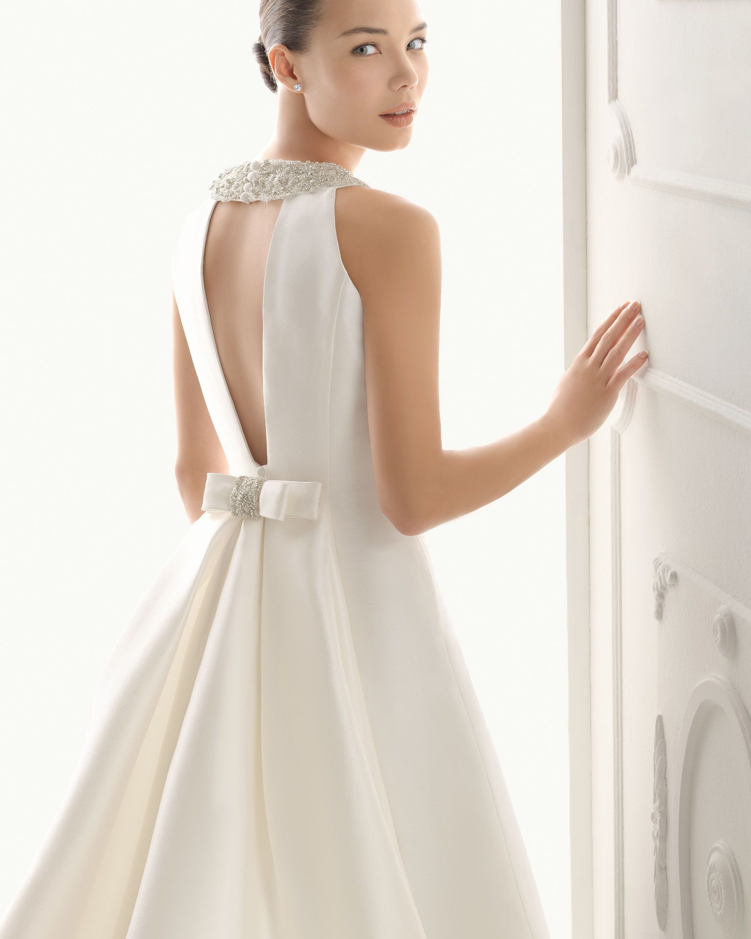 Simple Ball Gown Bows Beading Satin Halter Chapel Train Wedding