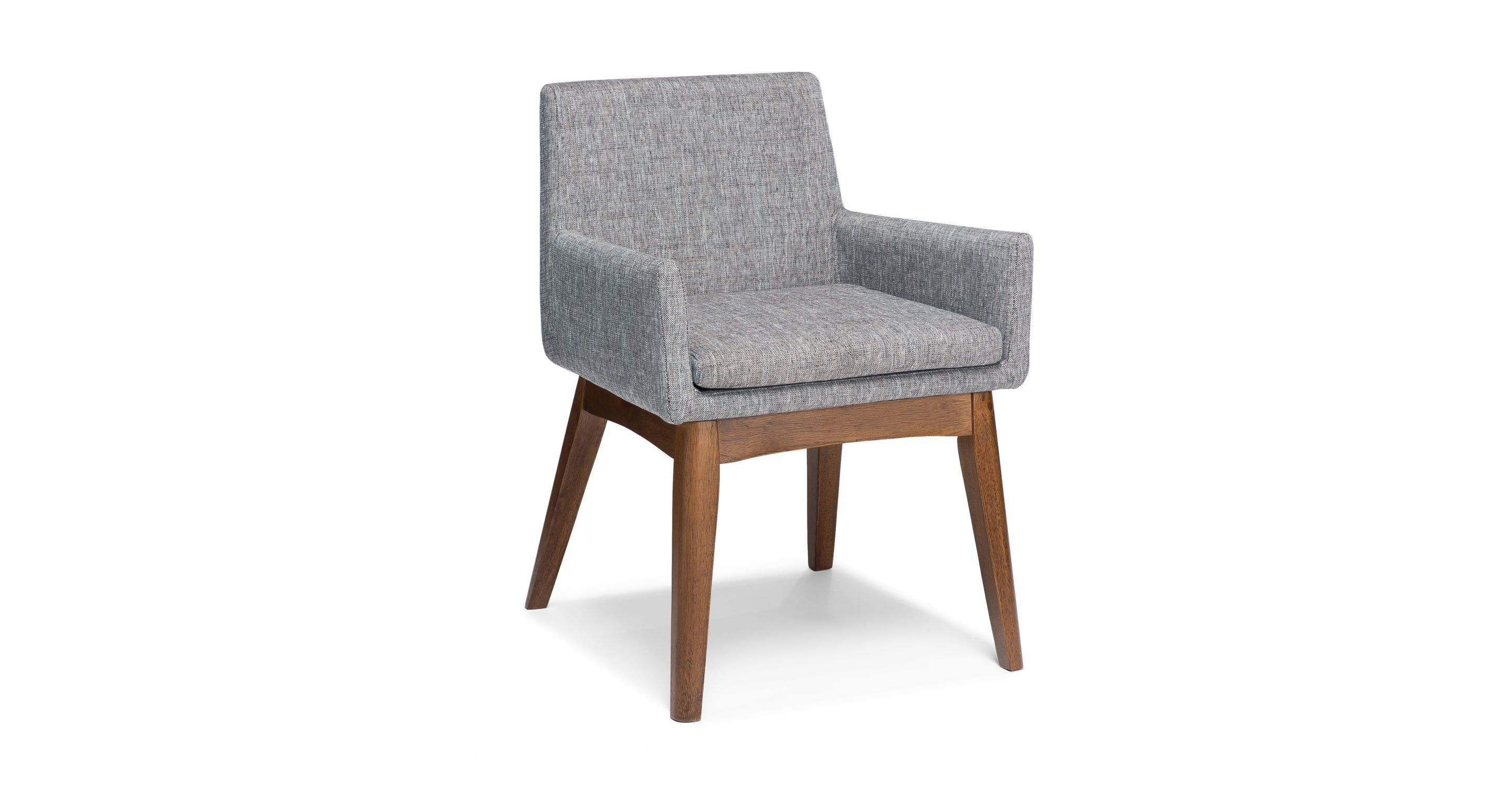 2x Gray Dining Armchair in Brown Wood Upholstered