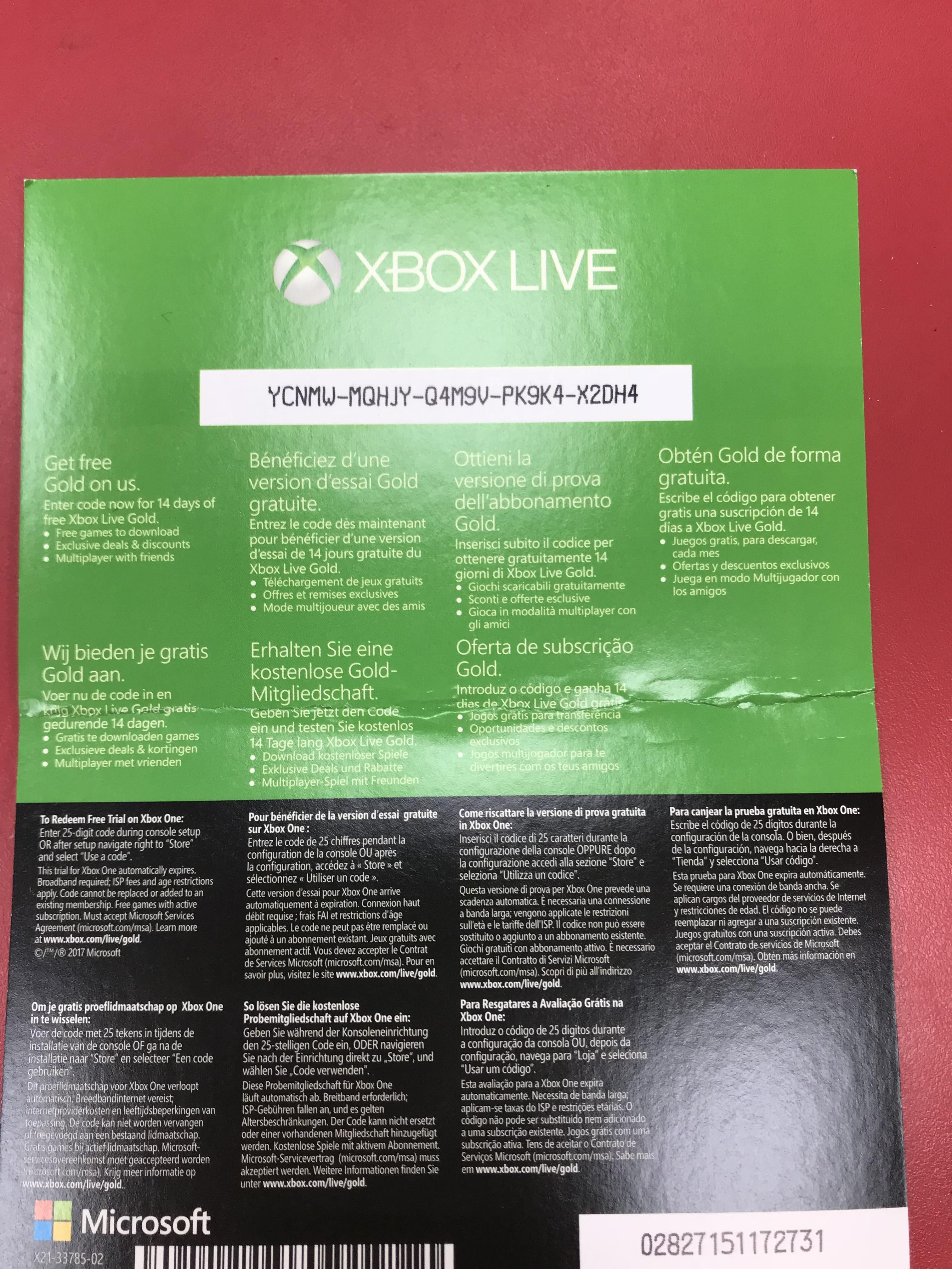 Another Fcfs Prize Xbox Live Gold 1 Month Gaming Xbox Live