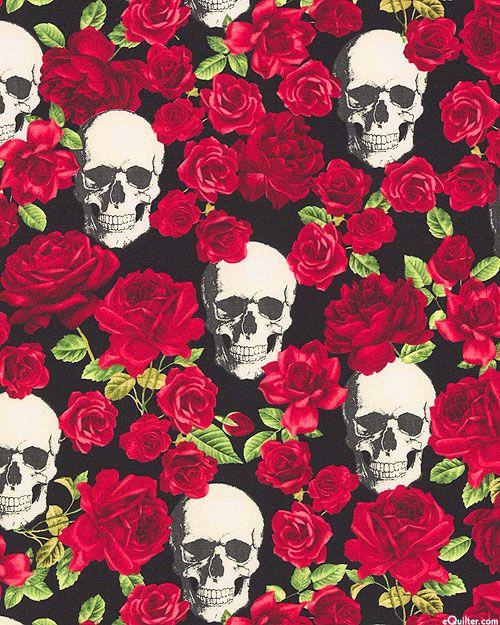 Halloween Skulls Amp Roses Quilt Fabrics From Www