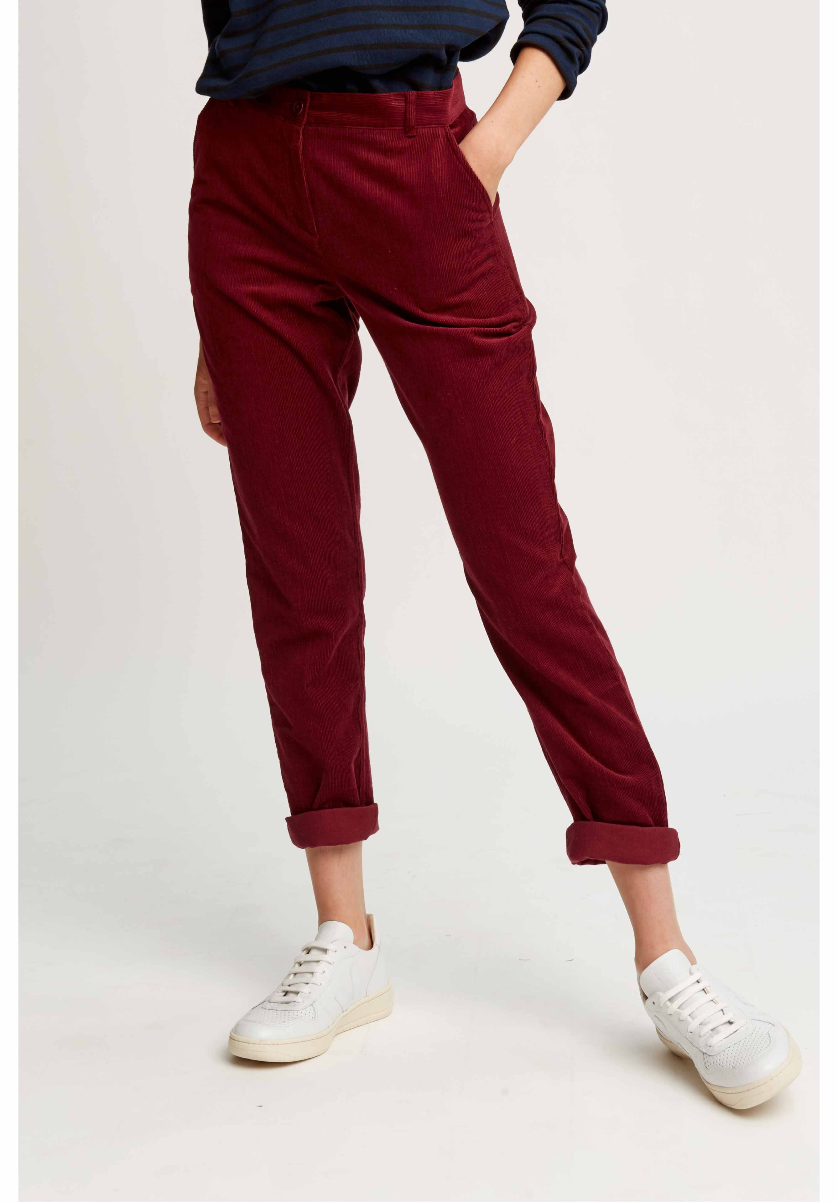 31af2fc0d Trousers - Kana Corduroy Trousers Burgundy | Sustainable Fashion in ...