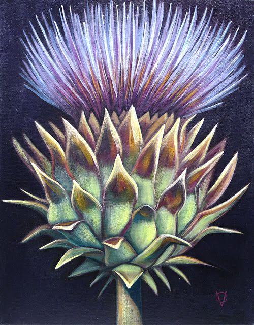 Girl With A Surfboard Thistle Painting Thistles Art Thistle