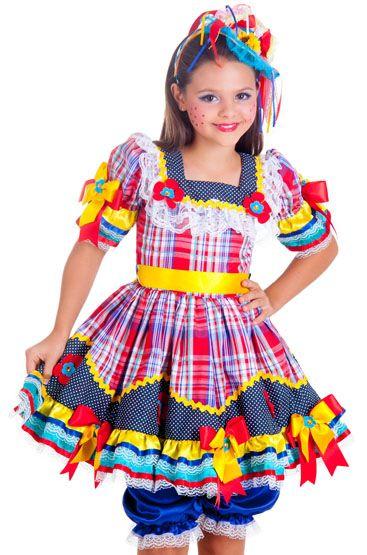 db83061fbc São João Idéias e dicas para os vestidos e trajes típicos para a criançada  dançar quadrilha