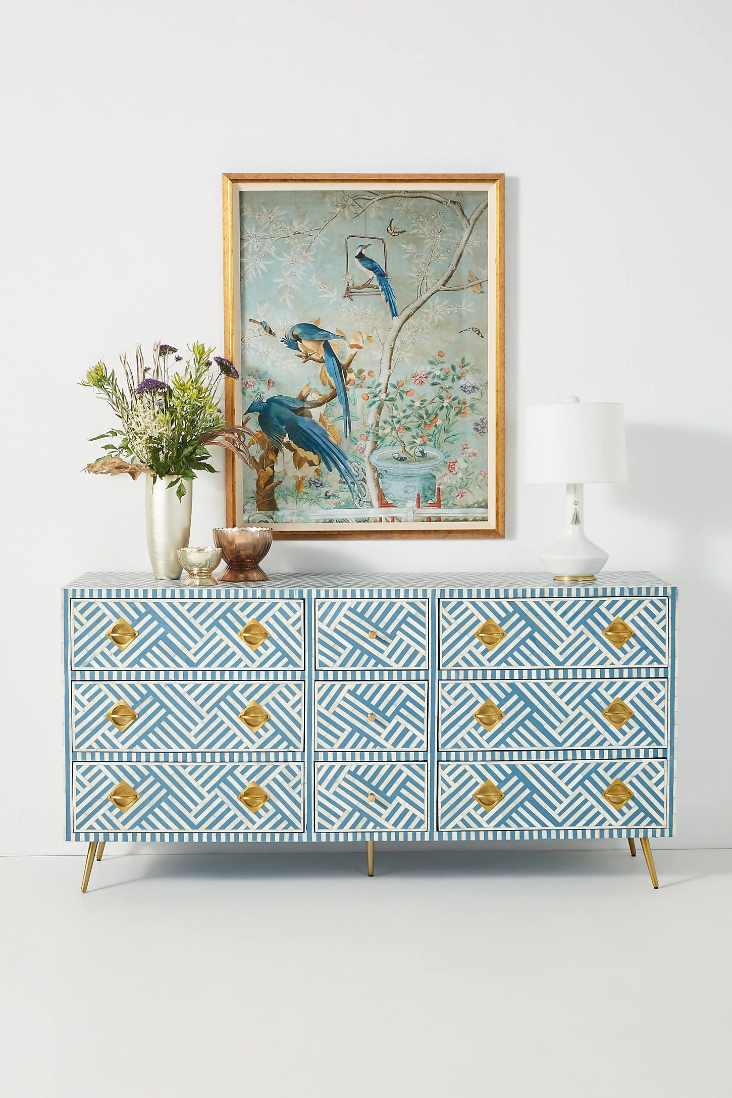 Optical Inlay Nine-Drawer Dresser
