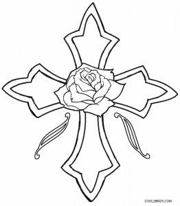 Cross With Roses Coloring Pages Embroidery Rose Coloring