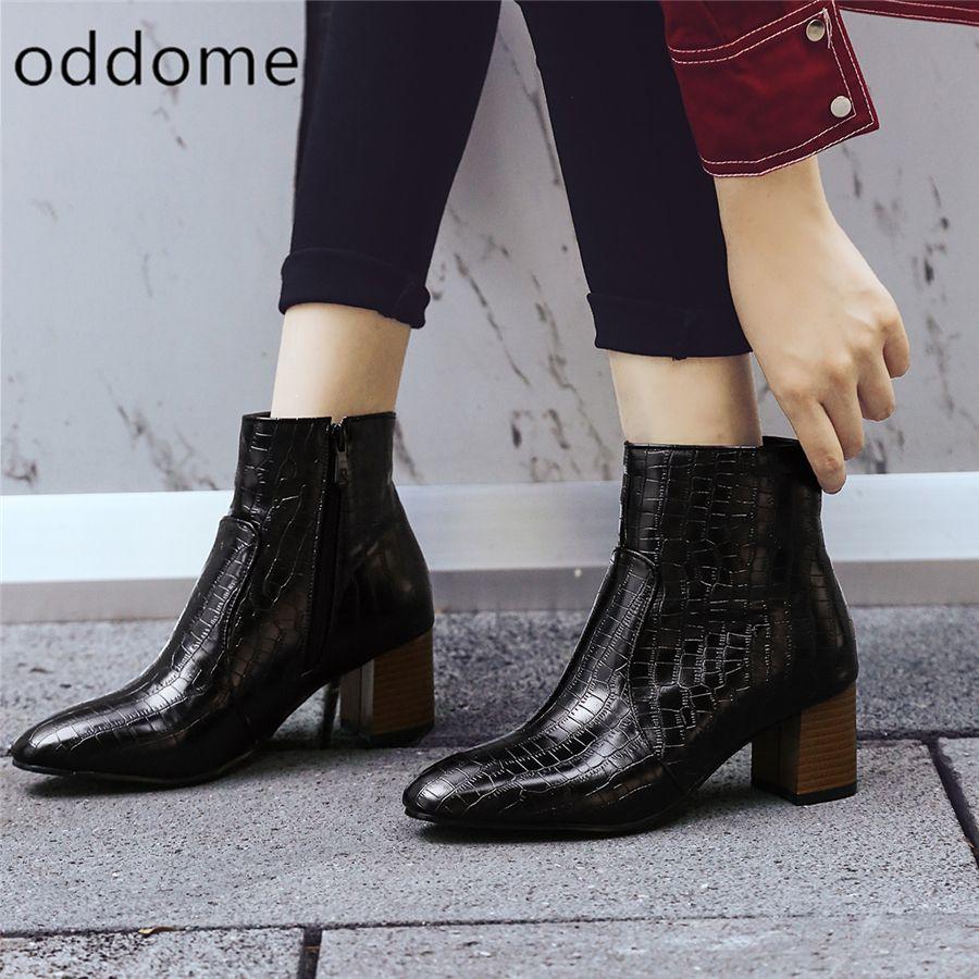 a302053c4 Купить товар Женские ботильоны зимние теплые Женская обувь крокодилы  каменный узор ботинки «мартенс» из