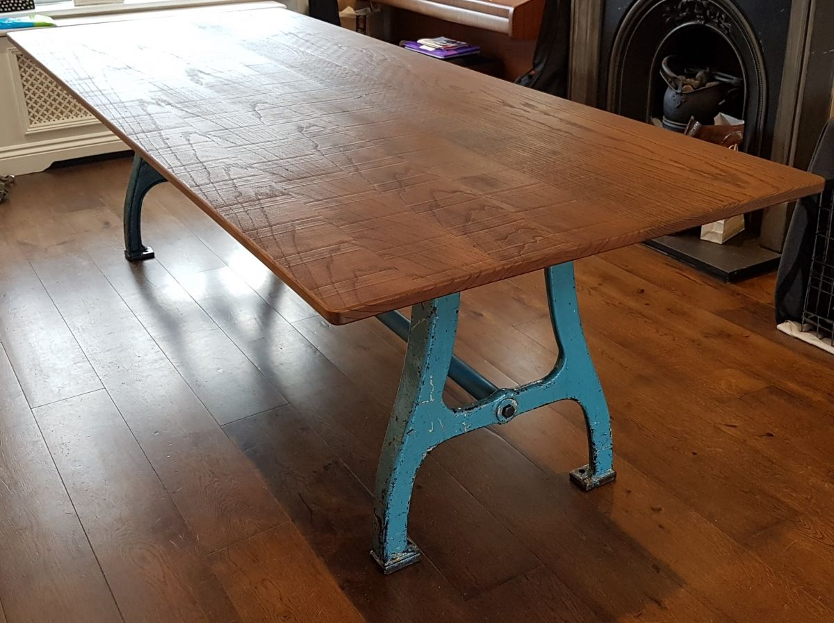 Industrial Dining Table With Reclaimed Cast Iron Legs And Solid Rustic Dark  Oak Top @ 2600mm Long X 1000mm Wide.