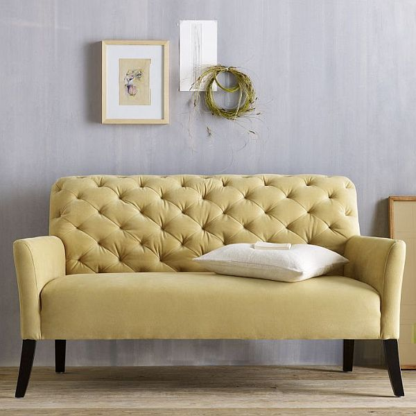 the elton settee tufted yellow sofa yellow sofa settees and dining rh pinterest com small tufted sleeper sofa small tufted sleeper sofa