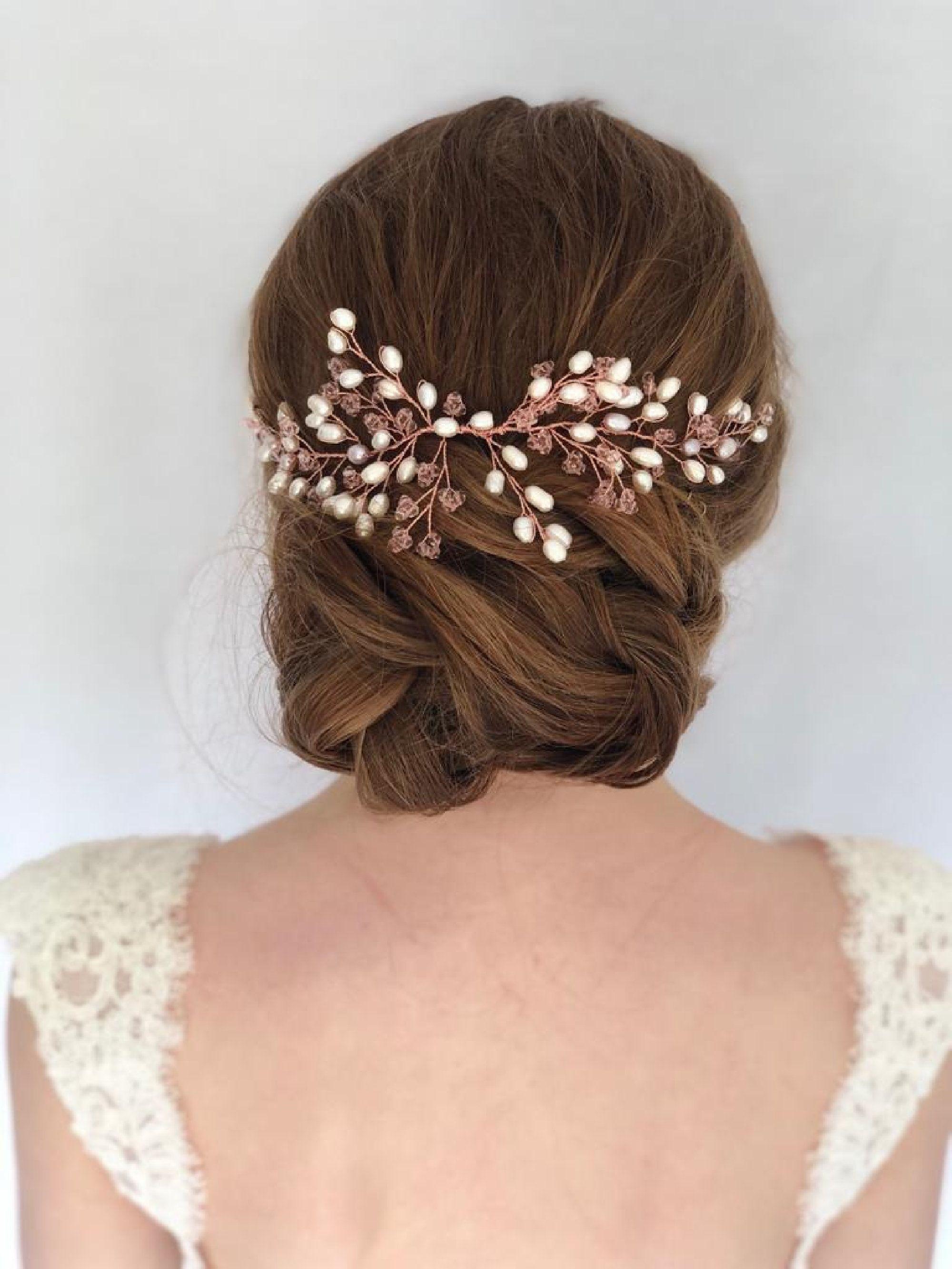 Pearl Wedding Hair Pins Rose Gold Pearl Hair Pins Set of 6,9,12 Pearl Hair Accessory Rose Gold Pearl Bobby Pins Pearl Bridal Hair Pins