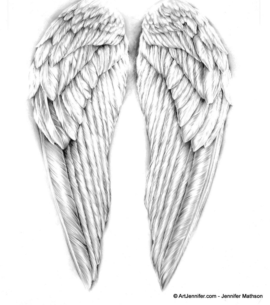 Angel Wings Drawing - ArtJennifer | Projects to Try ...