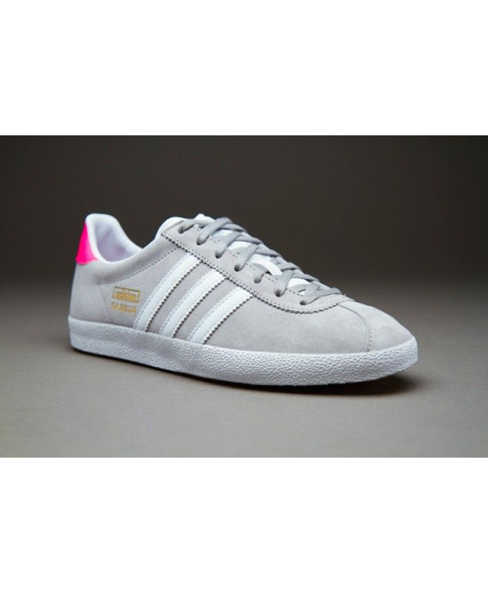 low priced 326ea 482dd Adidas Gazelle Solid Grey White Solar Pink Trainer