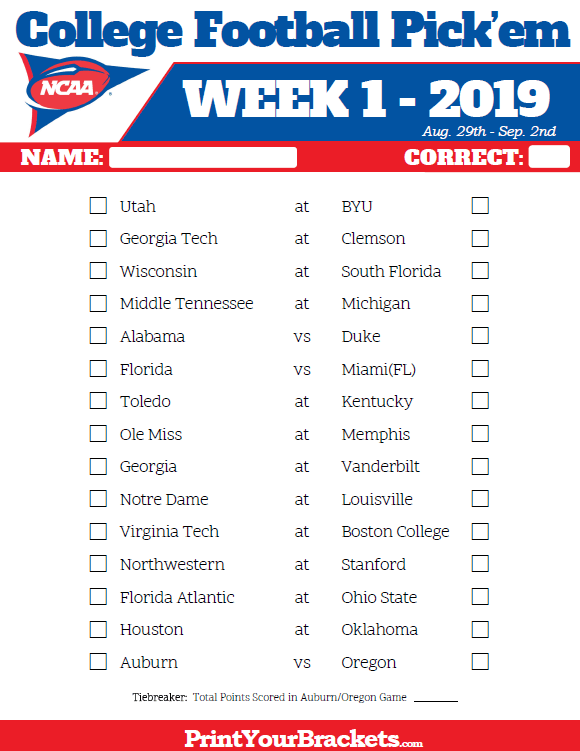 Printable Week 1 College Football Pick Em Sheets 2019 College