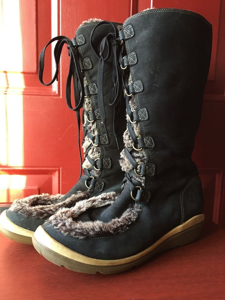 TIMBERLAND ~ KICKADILLA ~ Faux Fur Leather Lace Up Boots