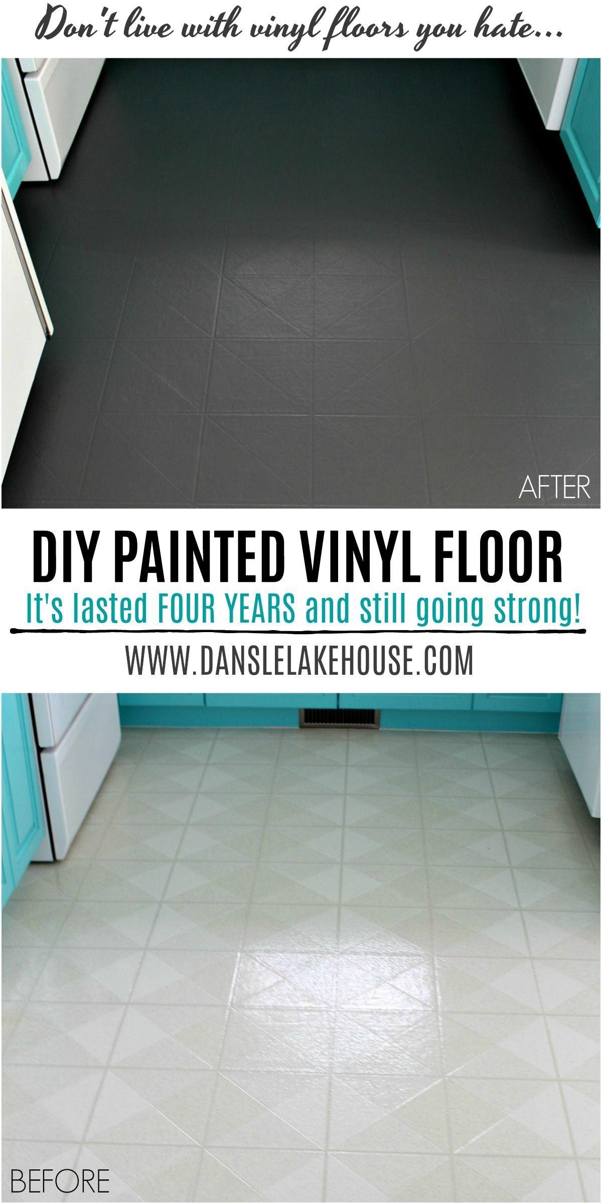 How to Paint a Vinyl Floor   DIY Painted Floors   Dans le ...