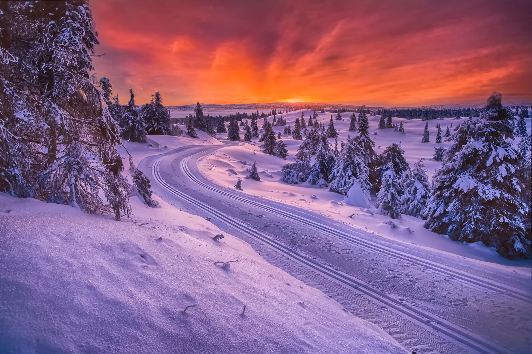 Landscape Photo Of Snow Field With Train Tracks Nature Landscape Winter Snow Norway Trees Sunset Road Norway Winter Winter Wallpaper Landscape Photos Hd wallpaper sunset snow winter field