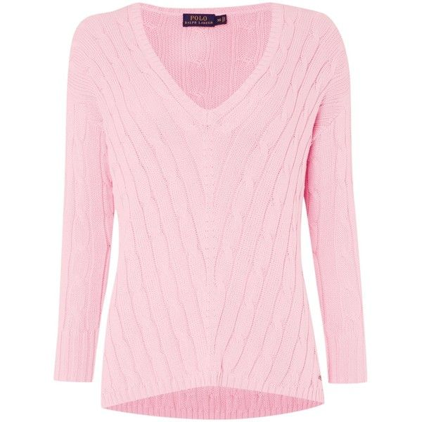Polo Ralph Lauren Long sleeve v-neck side slit jumper (760 BRL) ❤ liked on Polyvore featuring tops, sweaters, pink, women, long sleeve jumper, long sleeve v neck sweater, long sleeve tops, pink v neck sweater and jumpers sweaters