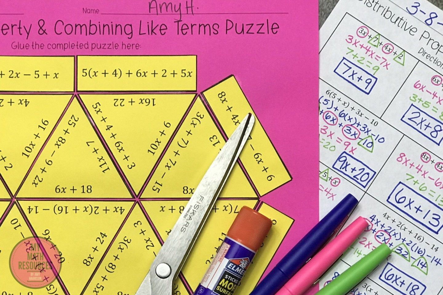 Distributive Property Amp Combining Like Terms Puzzle 2