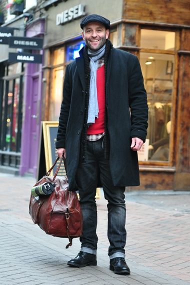 denim cuffs, scarf, newsboy lid & bag.. Very nice!