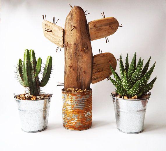 Driftwood art cactus pot cactus plant recycled garden for Wooden cactus planter