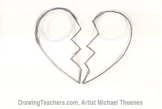 Easy To Draw Cool Drawings Of Broken Hearts Images Of Hearts To