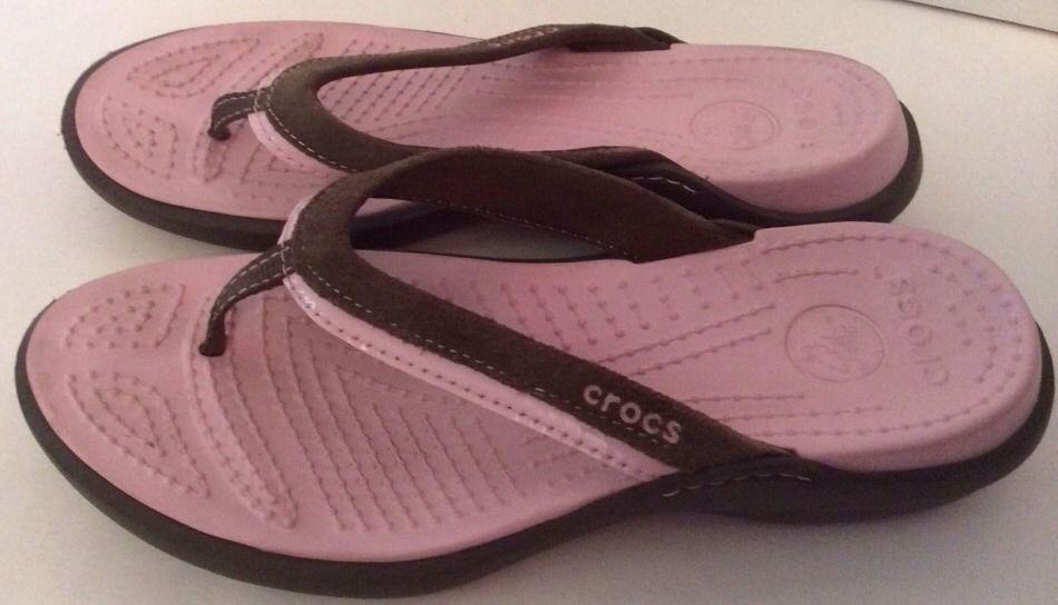 Crocs 8 Vezzy Women Sandals Flip Flops Pink Brown