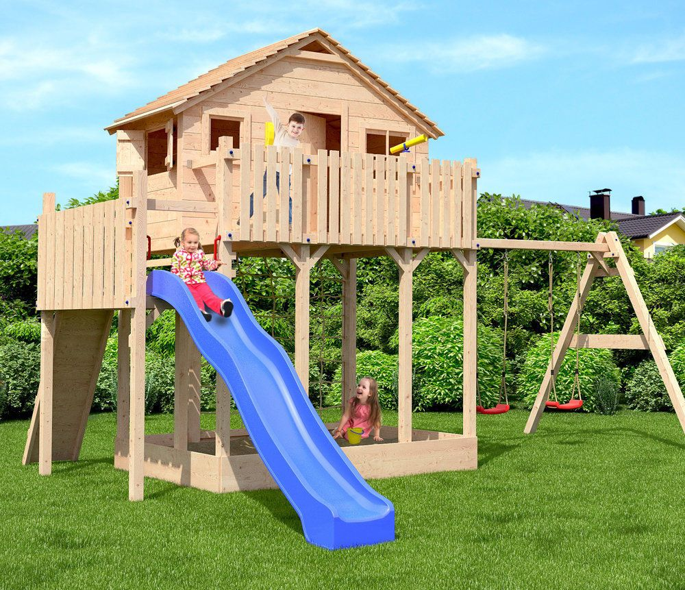 outdoor swing set tree house kids children toy play large slide