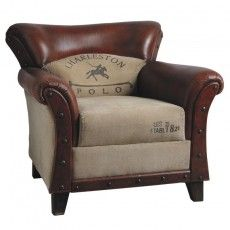 Fauteuil Charleston Polo Vintage Genre Fauteuil Club Cuir Et Coton Fauteuil Cuir Vintage Fauteuil Cuir Fauteuil Club