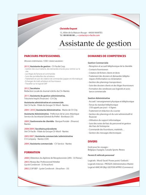 cv assistante de direction modele gratuit