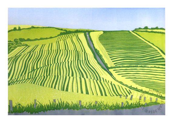 ORIGINAL lino print Cutting ley on the Rhins by adeegan on Etsy