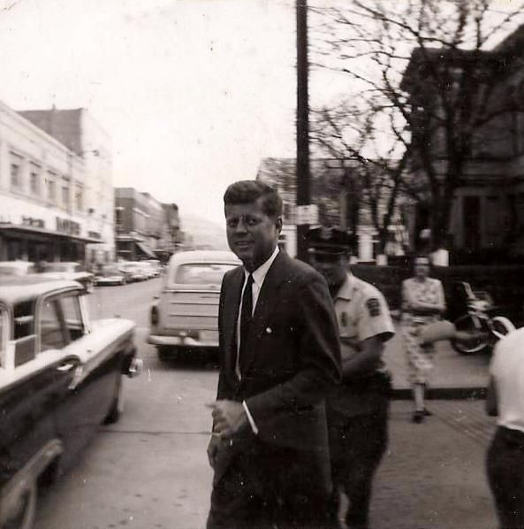 Presidential Candidate John F Kennedy Comes Out Of The Mountaineer Hotel Onto 2nd Avenue Williamson Wv Early 1960 S