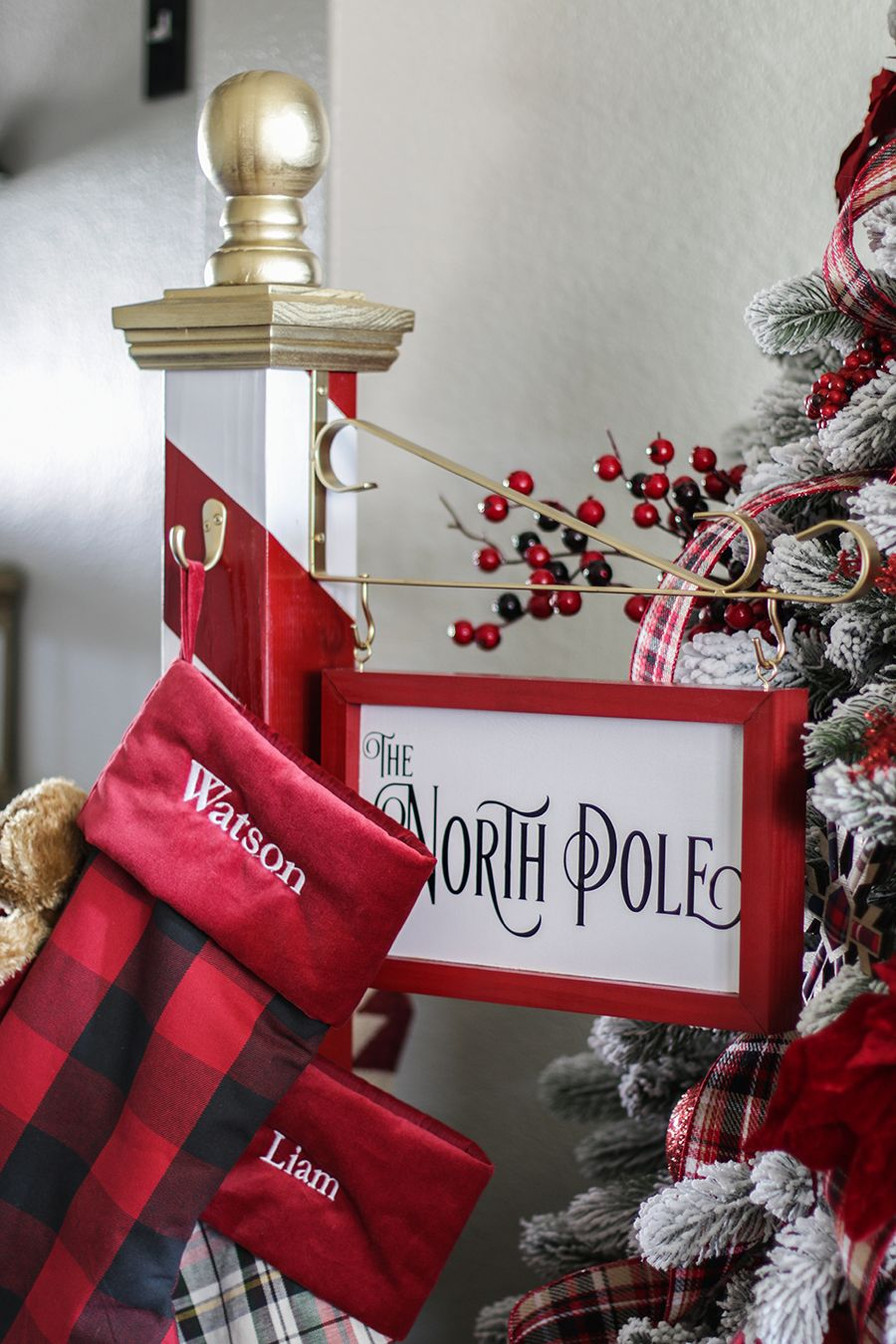 North Pole Christmas Stocking Holder Diy Christmas Decorations