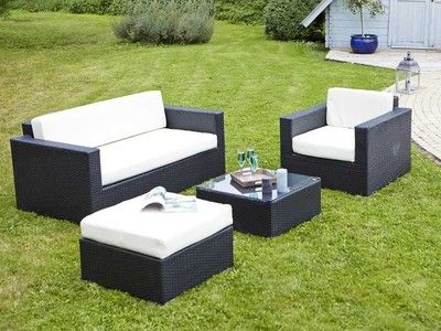 salon de jardin 5 places en r sine tress e noir canap table basse repose salon de. Black Bedroom Furniture Sets. Home Design Ideas