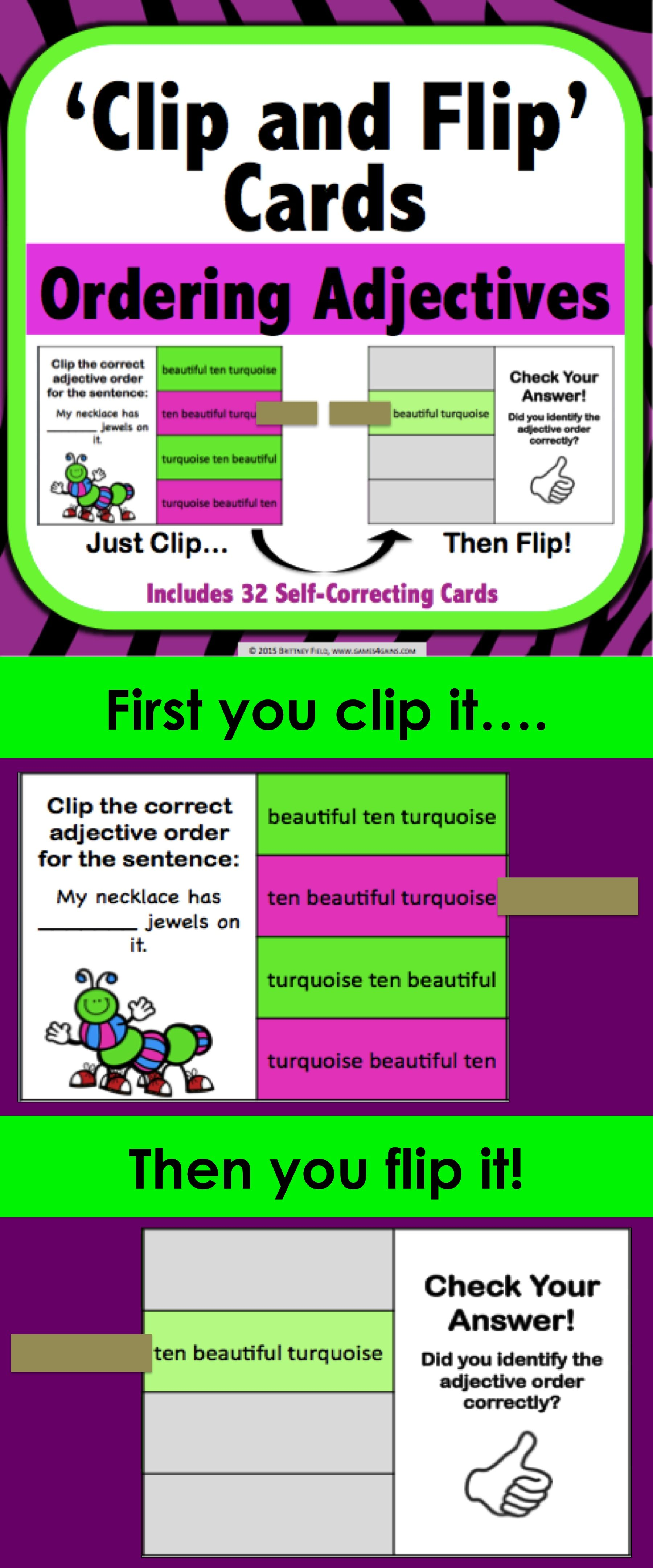 Ordering Adjectives Task Cards Clip And Flip