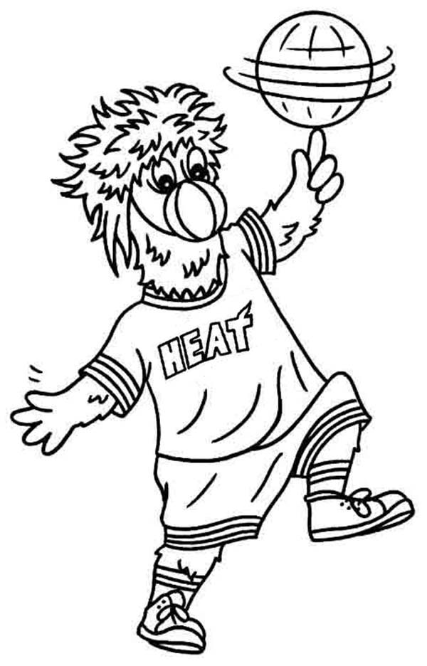 Miami Heat Mascot In Nba Coloring Page Color Luna Sports Coloring Pages Coloring Pages Fruit Coloring Pages