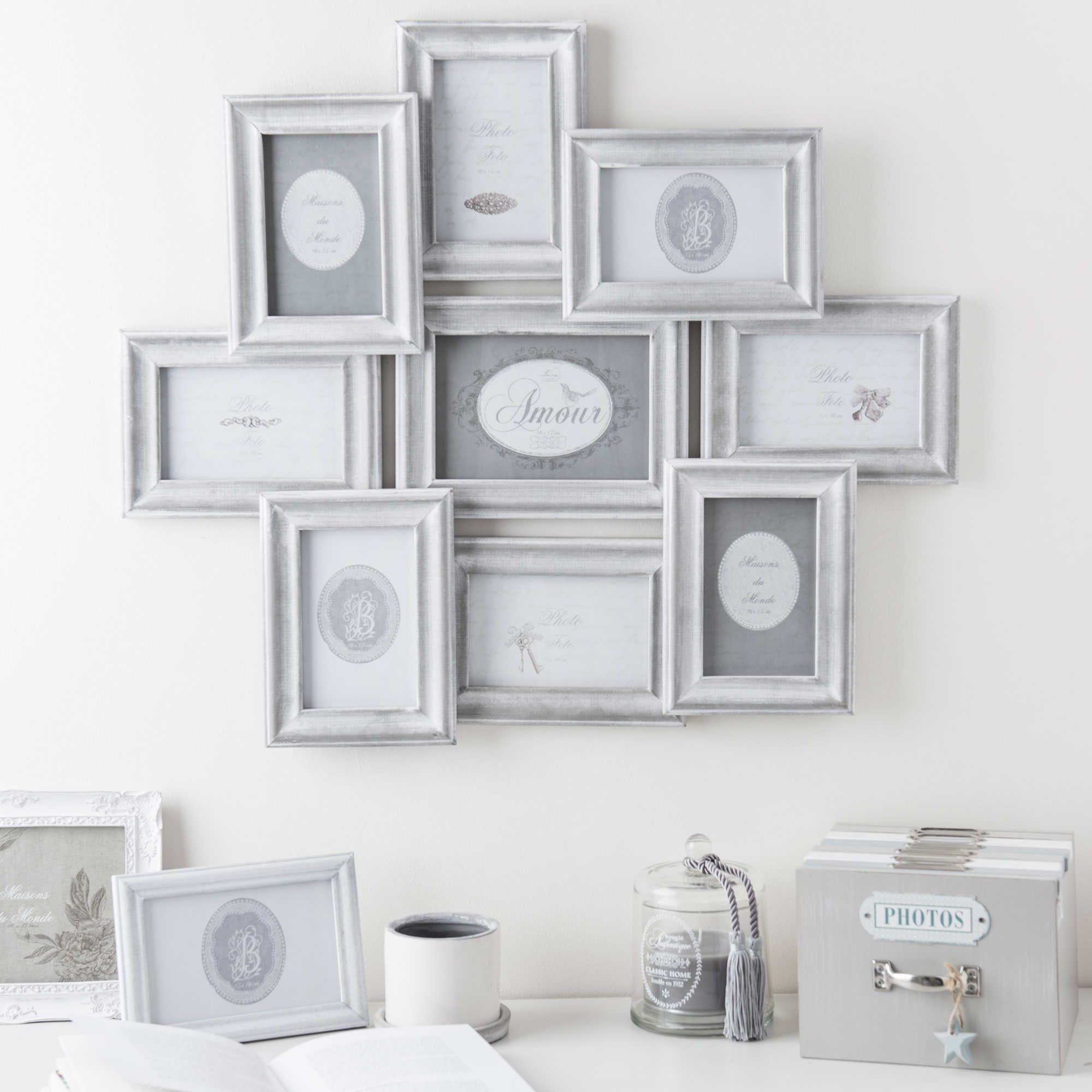 Cadre photo 9 vues en bois gris 56 x 65 cm COLETTE | Maisons du ...