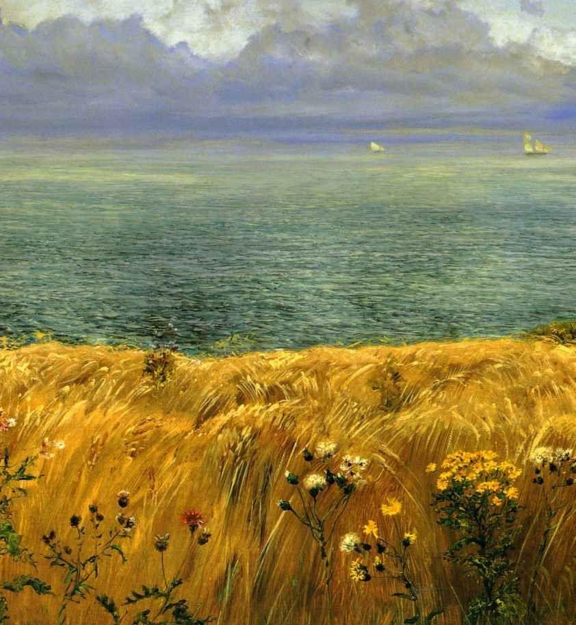 summer  paintings pre raphaelite   Pre Raphaelite Art: John Brett - Summer on the Cliffs