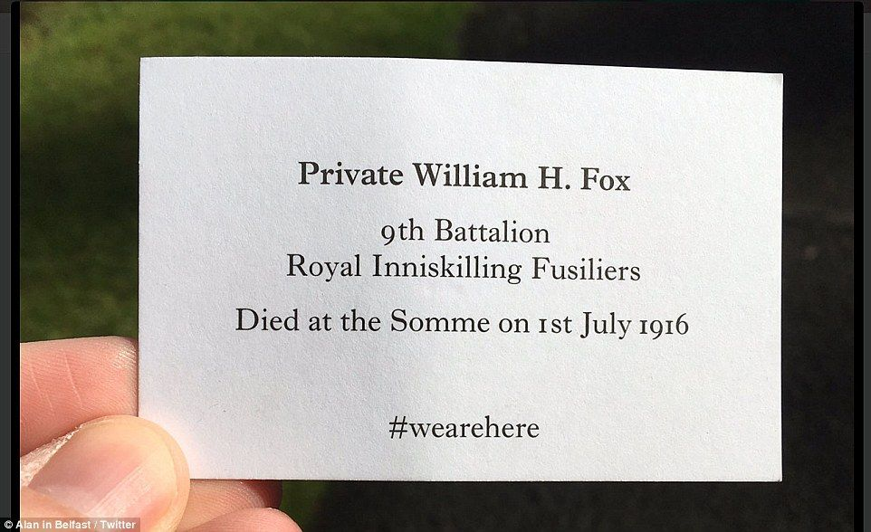 The 'walking ghosts' were handing out cards bearing the name and battalions of  soldiers who died in the Battle of the Somme...