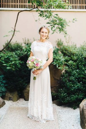Romantic Garden Wedding at the Rockford Art Museum is part of Casual garden Wedding - Before we even get into how gorgeous this Rockford Art Museum is, can we please just take a moment to swoon over this Bride's gorgeous BHLDN gown  I am in love  It's the perfect gown for this se