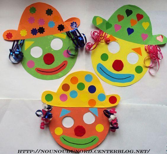 Masques clowns pour le carnaval janvier 2010 bricolage - Photo de clown a imprimer ...